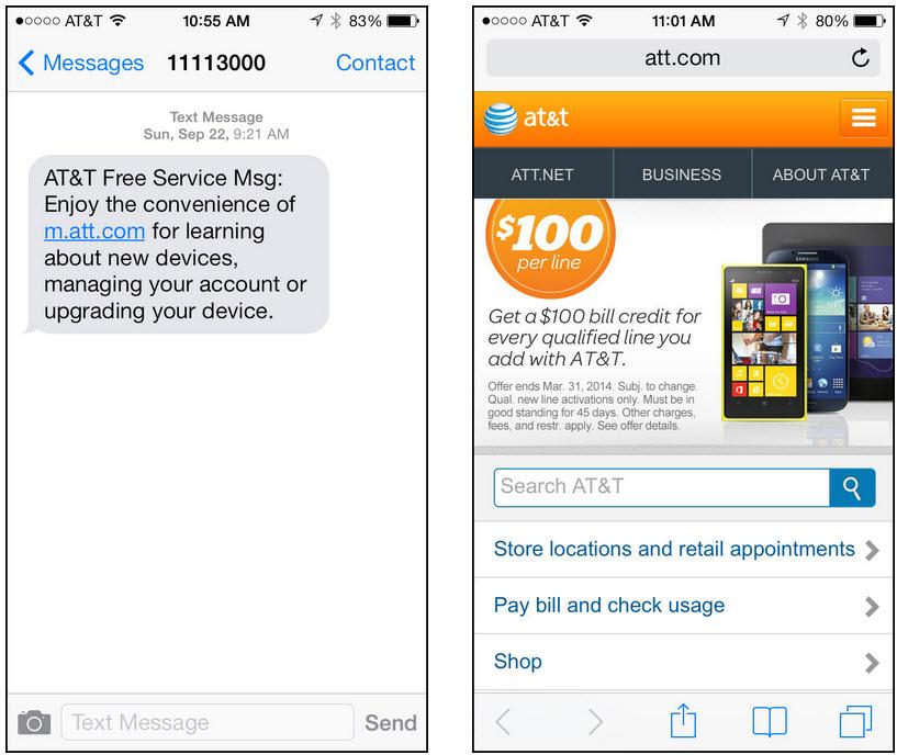 AT&TからのSMSメッセージはユーザーをモバイルに適したページにつなぐ。