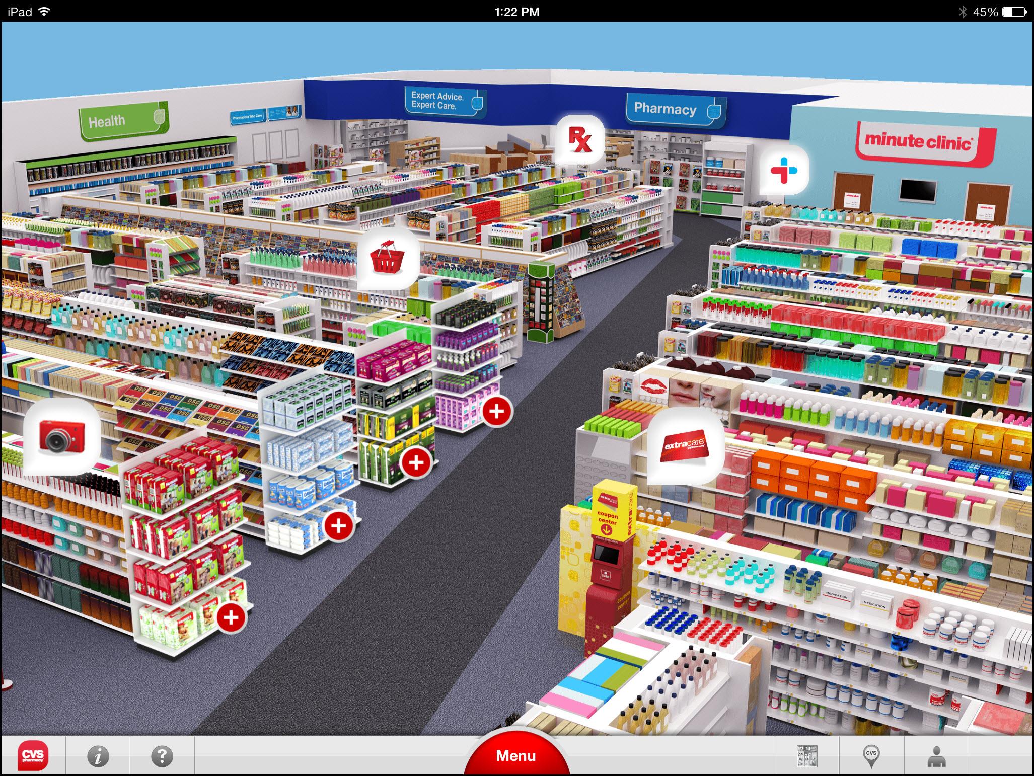 CVSのiPadアプリはバーチャルストアで商品を表示する。しかし、そのデザインは扱いにくく、ユーザーにとってはイライラするものである。