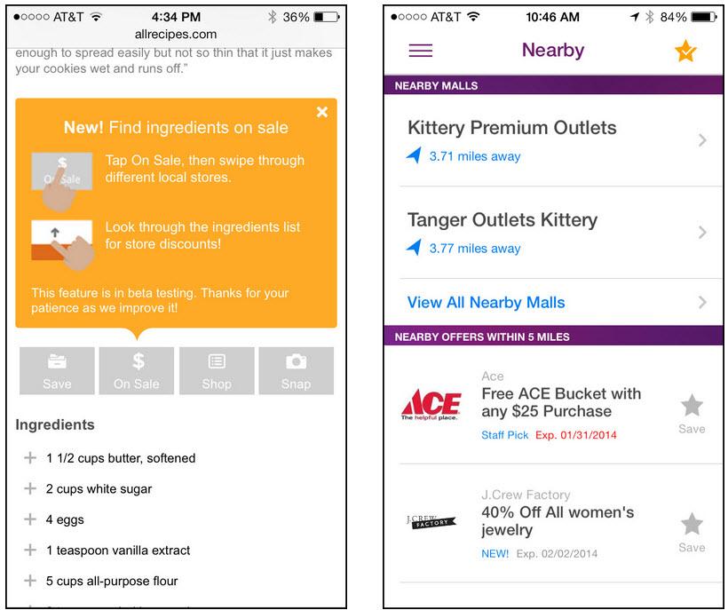 allrecipes.comのモバイルサイトとRetail Me NotのiPhone用アプリ。それらの場所に特化した詳細情報は、モバイルのエクスペリエンスを著しく向上させるものである。