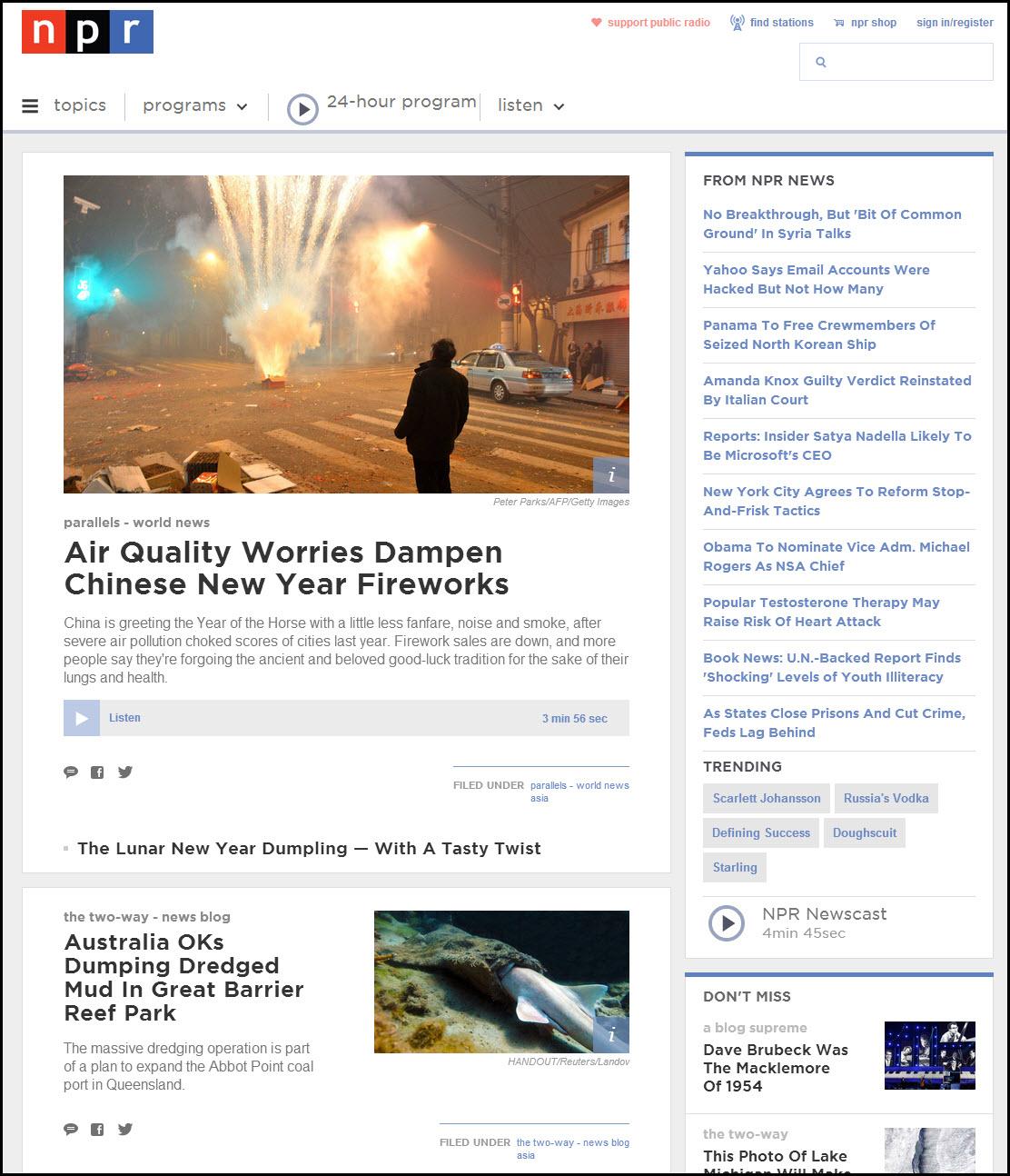 NPRのトップページは、ニュースの見出しを流し読みして興味のあるコンテンツを見つける、Webの読者向けにデザインされている。