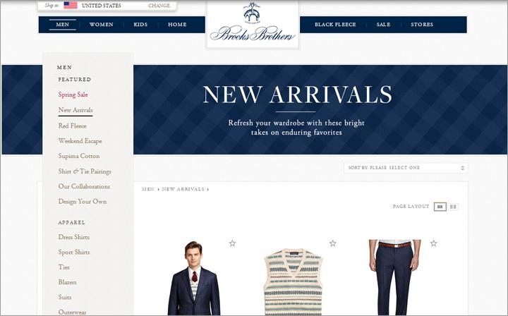 常連客は新しく追加された部分を見るためにサイトに戻ってくる可能性がある。Brooks BrothersのサイトではNew Arrivals(:新着商品)のセクションが大きく扱われていた。