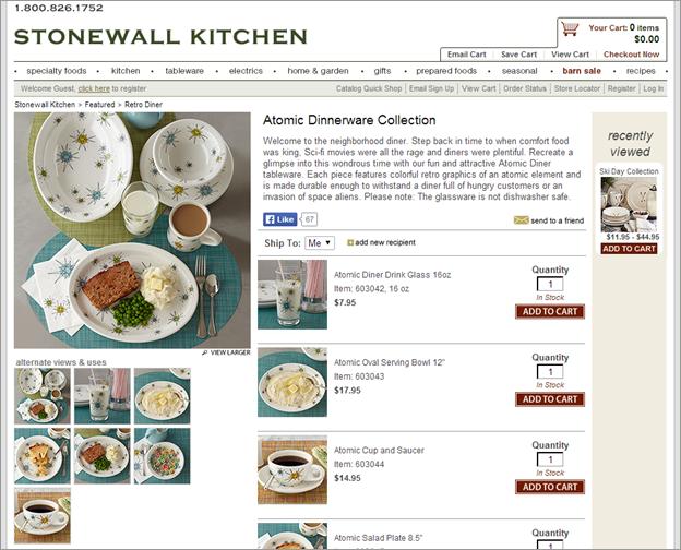 商品についての疑問、例えば、StonewallKitchen.comのこのdinnerware collection(:食器シリーズ)の材質は何かといったような疑問が解決されないままだと、リサーチャーはサイトを離れてしまうだろう。