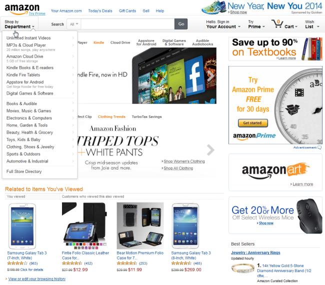 Amazon.comは商品カテゴリーを永続的なグローバルナビゲーションとしてはもはや表示していない。かわりに、ユーザーはドロップダウンメニューの「Shop by Department(:カテゴリーからさがす)」を選択して、商品カテゴリーを見る必要がある。