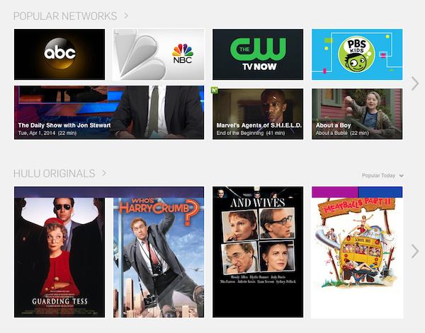 Hulu.com: フィルムストリップがカテゴリーごとになっていることで、カテゴリー内を横に「スワイプ」するのか、それともスクロールダウンして別のカテゴリーを見るのかというオプションがあることがわかる。このように2方向を利用すると、それぞれのカテゴリーページを訪問しなくても、ユーザーが様々なオプションを見ることができるようになる。