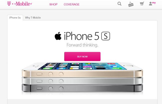 Tmobile.comでは、携帯電話のサービスプランの情報は「Shop(:商品を見て回る)」のドロップダウン経由でしか見ることができない。