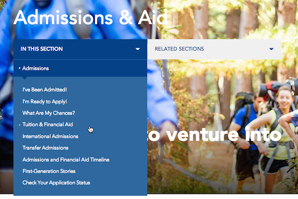 ユーザーはAdmissions & Aid(:入試と援助)セクションでTuition and Financial Aid(:授業料と学資援助)のページを見つけられなかった。ローカルナビゲーションがドロップダウンメニューの中に隠れていたからである。あるユーザーはこうコメントした。「このサイトは私の一番知りたいことを教えてくれません」。
