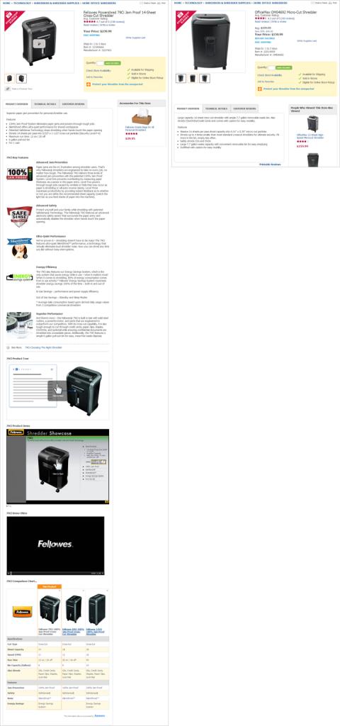 OfficeMaxのサイトでは、この比較可能な2台のシュレッダーで、提供している詳細情報の量が異なっている。