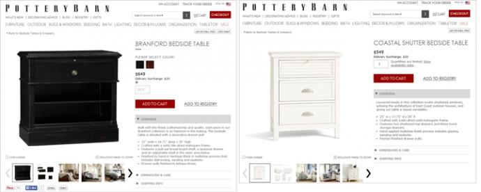 Pottery Barnがサイトで2つの商品の情報をうまく同等に提供できているのは間違いない。このおかげでユーザーはシンプルに比較が可能だ。寸法や材質、棚や引きだし等の家具のディテールといった基本情報の並べ方が商品間で共通だからである。