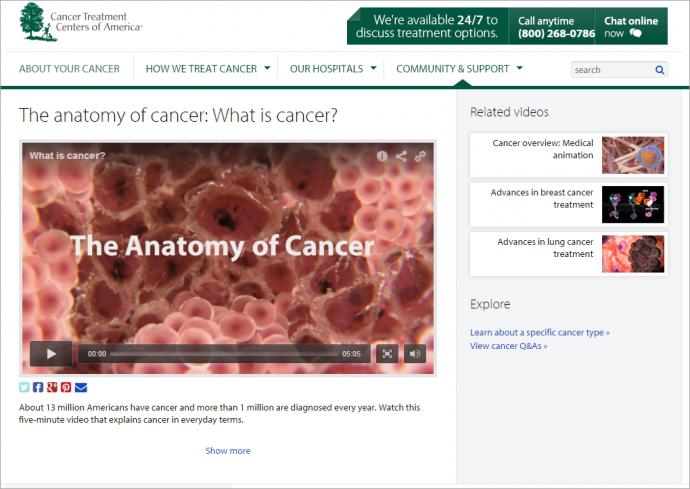Cancer Treatment Centers of Americaでは、ページの右側で、この動画コンテンツに関連するリンクのリストを提供しており、そこには関連動画や他にも探索するとよいページが載っている。