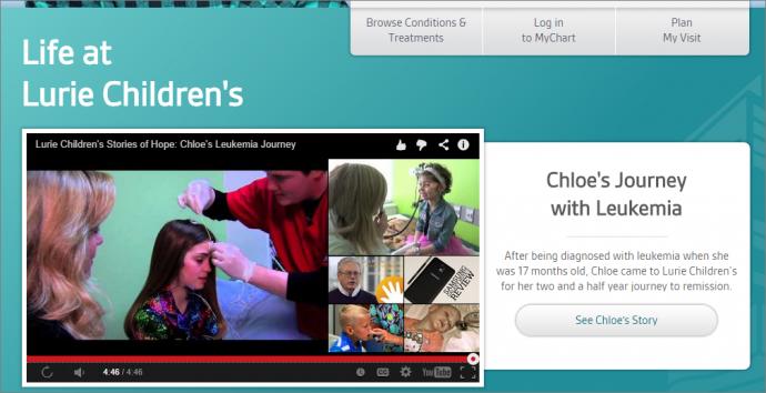 Lurie Children's HospitalのWebサイトにあるこの動画の最後に表示されるのはYouTubeの関連動画だ。その中にはこの病院に関連したものもあるが、動画のテーマとの関連で、病院とは関係のないものが表示されることもある。