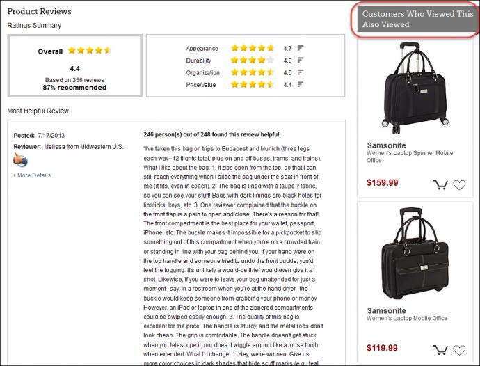 eBagsは(この同じページを見た)他の顧客が同時に何を見たかをベースに、関連するバッグを表示し、ユーザーにこう思わせようとしている: 「彼らもこのバッグを見たのなら、彼らが検討した他のバッグも私の欲しいタイプに違いない」と。