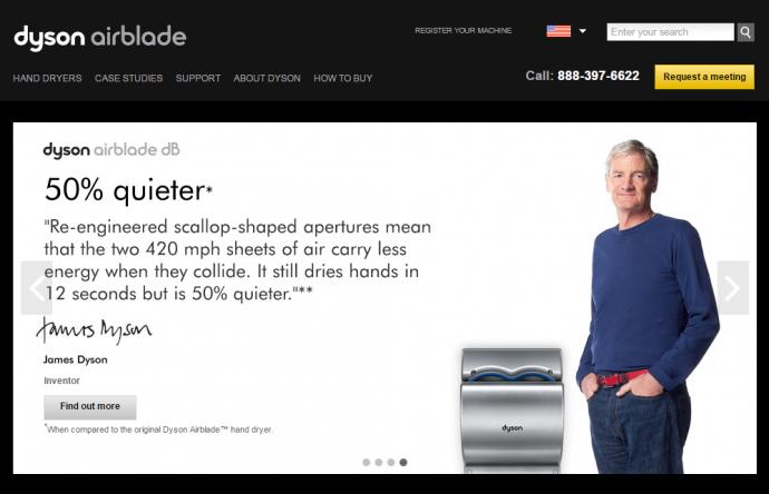 airblade.dyson.comのような小さなWebサイトならサイトの全コンテンツをほんの数個のカテゴリーで表示できるはずである。
