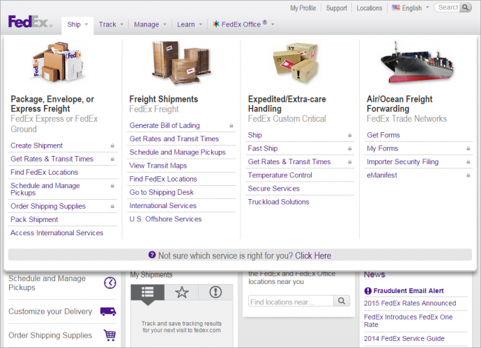Fedex.comのフルサイトではマウスオーバー起動のメニューを利用して、さまざまな種類の配送サービスにアクセスできるようになっている。