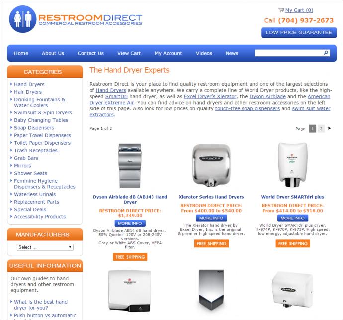 幅広いコンテンツを提供しているwww.restroomdirect.comのようなWebサイトでは、通常はカテゴリー数がもっと多いほうがよりうまく機能する。