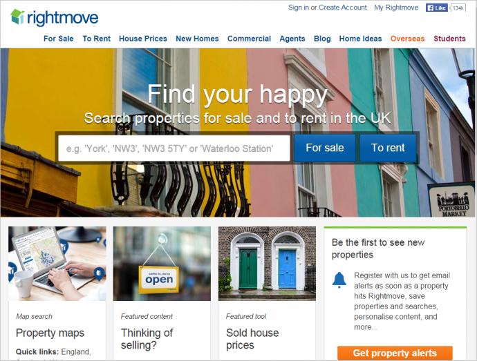 イギリスの不動産掲載サイトのRightmove.co.ukでは、最重要カテゴリー(For Saleと To Rent)を最初に載せ、アルファベット順にはしていない。