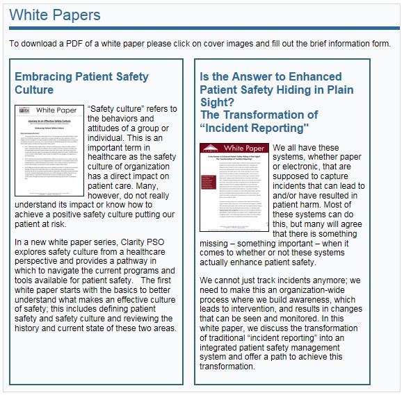 Patient Safety and Quality Healthcare: このページにある間違った手がかりは混乱を引き起こす。青い見出しはクリックが不可能である。その一方、画像はクリック可能なのだが、静的な画像のように見える。ページ上部に何をクリックすべきかの指示はあるものの、デザインから確実にわかるようにはなっていない。