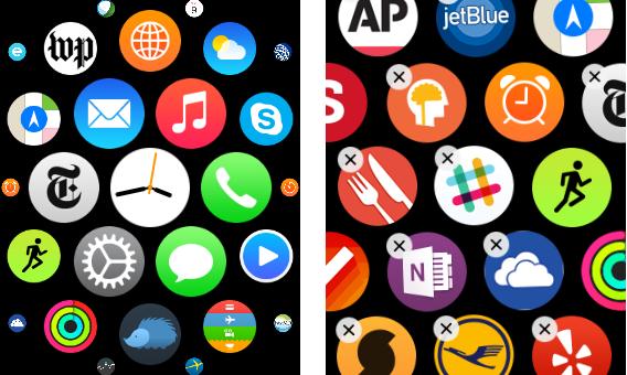 アプリ画面ではフォーカスプラスコンテキストの可視化が行われているが、アプリアイコンは最大化してもまだ小さすぎ、正確な起動が難しい。また、アプリを削除するには直径約2mmの非常に小さな「x」アイコンを押さなければならない。