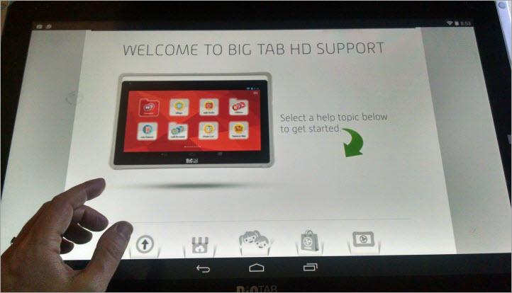Nabi Big Tabのユーザーサポートサイトではデバイスのサイズが活かされてなかった。このサイトは拡大されることでスペースを満たしているのだが、画面最下部にあるアイコンは関連するラベルが見えないままになっていた。また、デバイスの画像も、拡大されたことでぼやけていた。