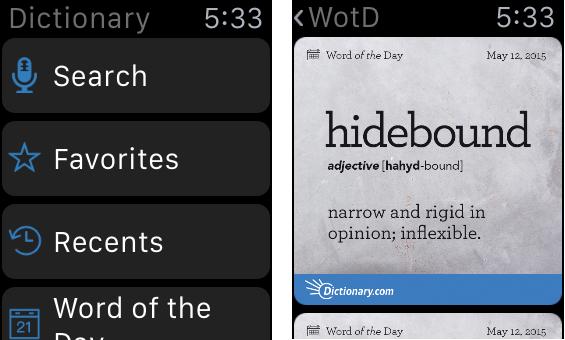 辞書: 「Word of the Day(:今日の単語)」をタップするとその日の見出し語が出る。その後、ユーザーが前に戻るには、ページの見出しの「< WotD」をタップするか(この動作は難しいが、表示はある)、右スワイプをすればよい(容易だが、非表示)。