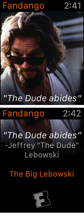FandangoのApple Watchアプリは画面が1ページだけで、そこには映画の台詞クイズがあるだけだ。