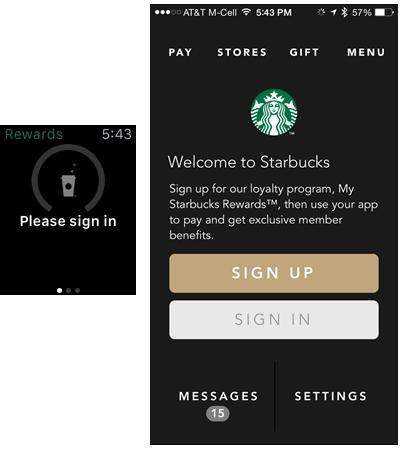 StarbucksはApple Watchを利用するのに、ユーザーに対してログインを求めていたが、ハンドオフ機能によって、ユーザーはiPhoneアプリの対応するログイン画面に直接移行することができていた。