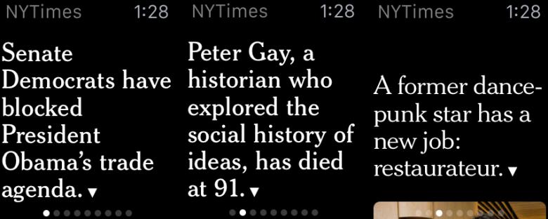 NYTimesのアプリ: デッキ・オブ・カード方式のおかげで、ユーザーは水平スワイプをすることで、さまざまな記事を読むことができる。