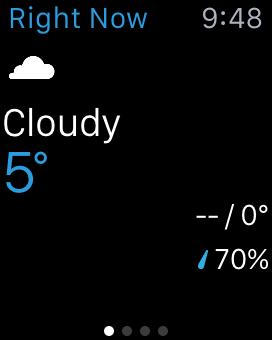 The Weather Channelアプリには表示されている気温の場所が出てない。そして、ここに出ている場所は現在地とは異なっている。