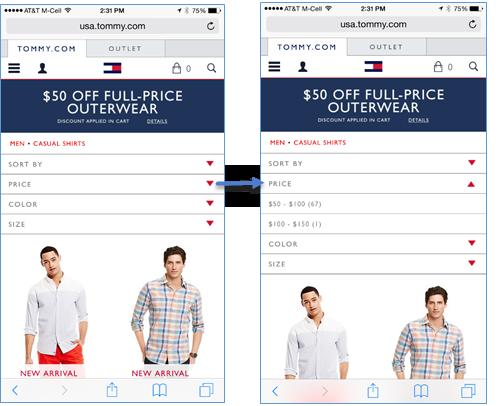 Toomy.com: Price(:価格)というフィルターはアコーディオンとして実装されており、展開するとページコンテンツは押し下げられる。