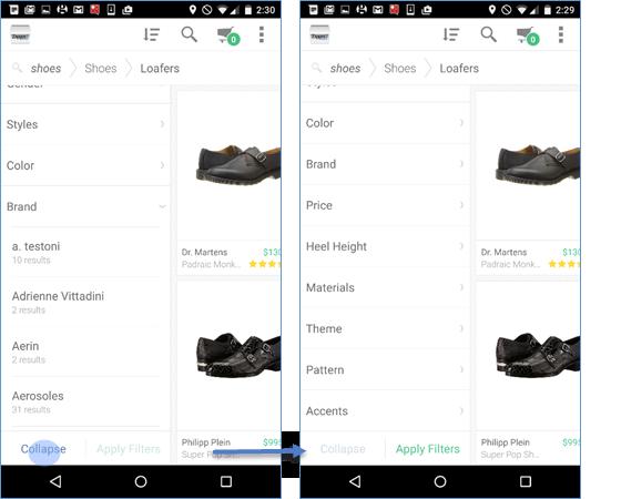 Android用のZappos: Brand(:ブランド)というフィルターはアコーディオンになっており、それを展開した状態(左)。Collapse(:折りたたむ)ボタンをタップすれば、ユーザーはフィルターリストに戻れた(右)。