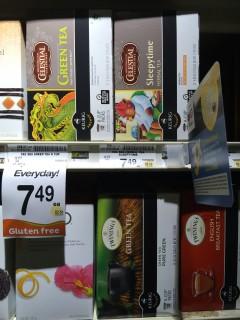 Gluten freeの表示までされている、Green teaの値札。