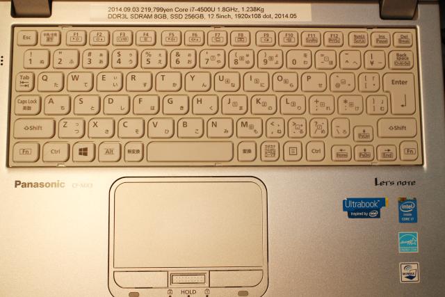 図1 CF-MX3の鍵盤