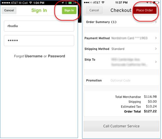iPhone向けのPinkberry(左)とNordstrom(右)の作業領域は、Submit(:送信)ボタン(ラベルは各々Sign In(:サインインする) と Place Order(:注文する))から切り離され、画面トップに配置されている。