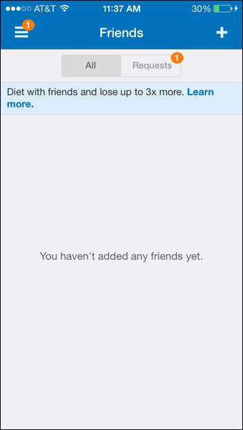トップナビゲーションバー内にある場合、プラスアイコン(右上隅)は新しいアイテムの追加を意味するのが最も一般的だ。たとえば、MyFitnessPalのアプリでは、このアイコンによって、友達を追加することができるようになっている。