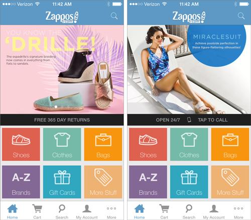 Zapposの iOSアプリは、ドットによって、ページの上半分のコンテンツビューが複数あることを示している。1つ目の画像では、ドットは背景になっている靴の上にあることがかろうじて見て取れるが、2番目の画像では、背景の写真の中に埋もれて完全に見えなくなってしまっている。