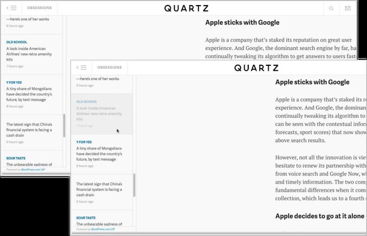 Quartz.comの記事ページの左にあるナビゲーションは、最初は高コントラストである(左)。しかし、ユーザーがナビゲーションリスト内の記事にマウスオーバーすると、そのセルはぼやけて、ほとんど判別不能なレベルのコントラストになってしまう(右)。ユーザーが最も興味を持ったテキストがとてつもなく読みにくくなるというわけだ。