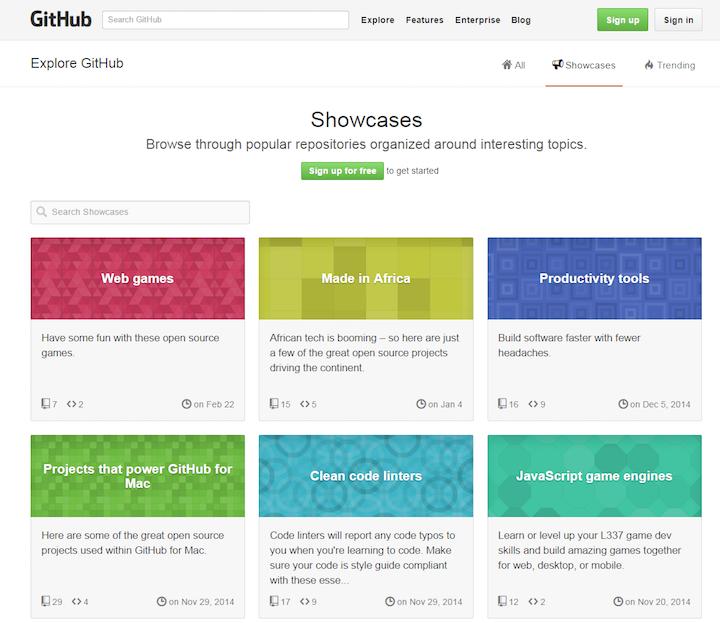 GitHubでは、「Search Showcases(:事例検索)」用の検索ボックスがグレーアウトされ、利用できないように見える。