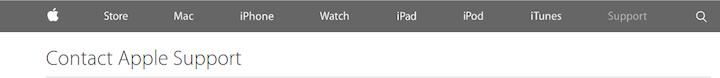 ユーザーがどのページにいるか、わかるだろうか。Apple.comでのユーザーの現在位置(Support(:サポート))は、背景のダークグレーよりも薄い色のグレーのテキストによって伝えられる。ナビゲーションというのは低コントラストを利用するにはとりわけ危険な場所である。自分の取れる選択肢が限られているとユーザーが思ってしまったり、サイトで今、自分がどこにいるかを解明しようと、時間を無駄にしてしまう可能性があるからである。