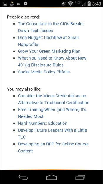 American Society of Association Executivesのサイトには記事の最後に関連リンクがあり、よく読まれている記事やおすすめコンテンツにユーザーを誘導していた。