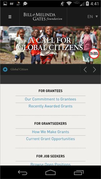 Bill & Melinda Gates FoundationのWebサイトではトップページでサイトのコンテンツの主な分野へのリンクを提供して、よく行われるタスクをサポートしていた。