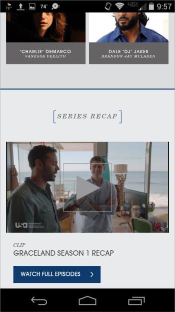 USA Networkのサイトではドラマ「Graceland」の出演者情報の下に動画によるハイライトとドラマ全話に行けるリンクがあった。
