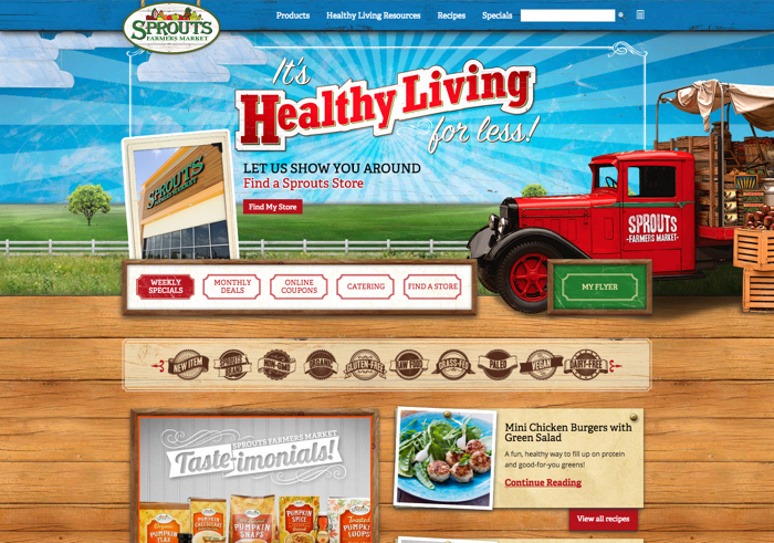 初期のKindle Fireタブレットと同じく、食料品チェーンのSproutsのWebサイトでは立体的な木のテクスチャが採用されている。しかしながら、このデザインでのリアリズムは美観にしか効いていない。つまり、インタフェースの利用方法に対するユーザーの理解を助けるある種のメタファーの支援にもなってなければ、現実世界での先例の模倣にもなってない。