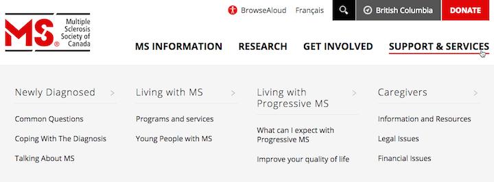 「Multiple Sclerosis Society of Canada」のWebサイトの第2階層カテゴリーはオーディエンス別の構成である。メガメニューというデザインのおかげで、各オーディエンスセクションの範囲とそうしたトピックに直接行けるリンクをユーザーが確認可能だ。