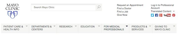 Mayo ClinicのWebサイトのグローバルナビゲーションは大部分がトピックベースだが、「For Medical Professionals(:医療従事者向け)」というカテゴリーはそうではない。そこでは「for(:向け)」という前置詞をシンプルに追加し、このカテゴリーの目的とコンテンツを明確にしている。