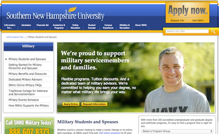 Southern New Hampshire Universityのサイトには軍関係の学生専用のセクションがあり、軍関係の学生や家族に直接関係のある情報が記載されている。このセクションによってコンテンツの重複を回避できるので、学校や入試プロセスについての一般的な情報を繰り返さずにすんでいる。