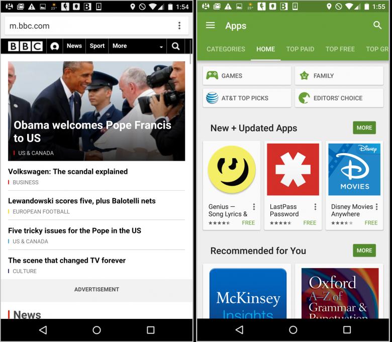 BBCのWebsite(左)とAndroid向けのGoogle Play(右)はどちらも、メインナビゲーションとして、トップナビゲーションバーを利用している(訳注:BBCのiPhone向けサイトのデザインはAndroid向けと基本的に同じだが、Google PlayのiPhone向けサイトはAndroid向けとはまったく異なる)。Google Playではカルーセルを利用し、ナビゲーションバーにさらに多くのアイテムを入れられるようにしている。