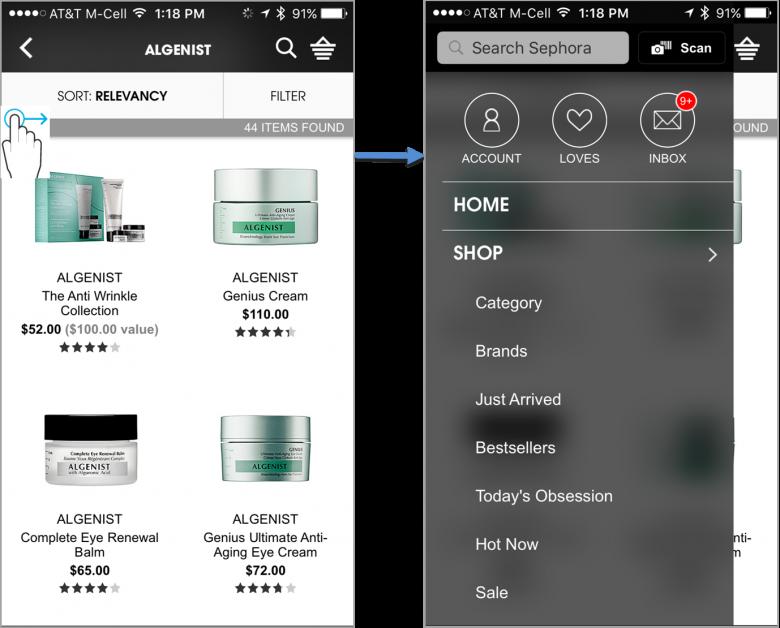 SephoraのiPhone向け画面: メニューボタンの表示はないが、左端を水平スワイプするとメニューが出てくるようになっている。だが、ほとんどのユーザーはこの機能を発見できないし、表示されているオプションだけを利用するようにしているユーザーも多い。