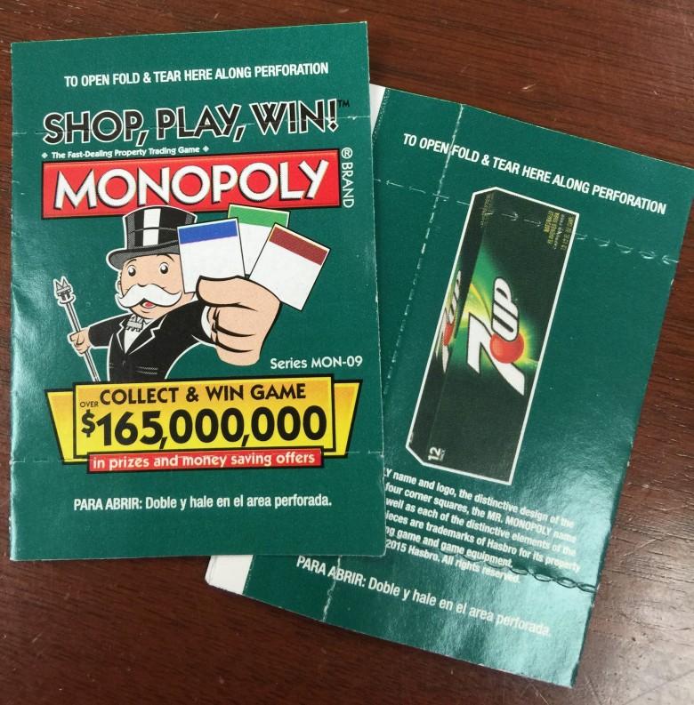 買い物に応じてもらえるゲームチケット、破ると中身が見えるチケットで、裏にはキャンペーン協賛企業の広告にもなっているようです。