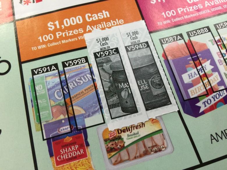 $1,000 Cashが当たる場所に2枚チケットが貼れました!