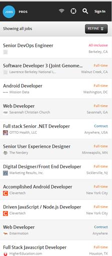 Authenticjobs.comのモバイルバージョン: このサイトはレスポンシブではあるけれども、デスクトップバージョンで利用可能な機能がすべて、モバイルバージョンにも含まれているわけではなかった。