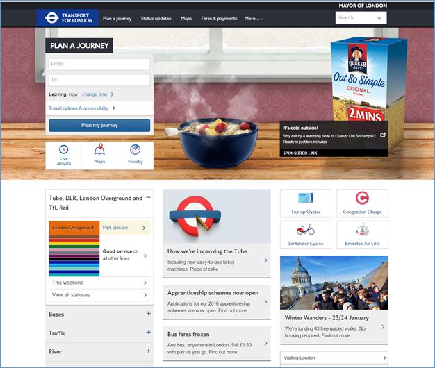 ロンドン交通局(Transport for London (tfl.co.uk))のレスポンシブサイト。デスクトップではコンテンツは3カラムにわたって表示されていた。